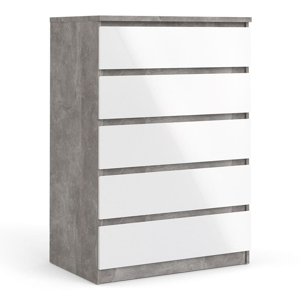 Enzo Chest of 5 Drawers in Concrete and White High Gloss and Grey